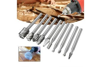 Woodworking Milling Cutter Engraving High Speed Steel Rotary File 10pcs- Silver