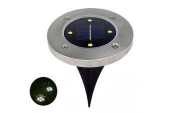 4 LEDs Solar Ground Light Stainless Steel Outdoor Garden Lamp- Silver White light