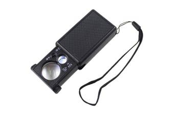 30X 60X Double Lens Jewelry Magnifying Glass- Black