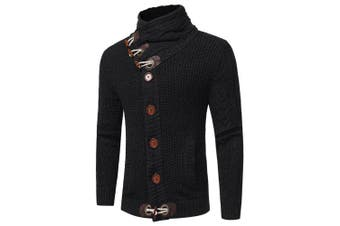 Men's Fashion Stand Collar Long Sleeve Thick Cardigan Sweater- Black 2XL