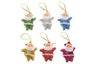 6PCS Colorful Merry Chrismas Tree Decorations Santa Claus Pendant Christmas- Multi