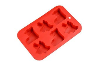 6 Even Christmas Cake Mold Silicone DIY Baking Tool- Red