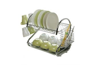 S-Shaped Dish Rack Set 2-Tier Stainless Plate Dish Cutlery Cup Rack With Tray Steel Drain Bowl Rack- Silver