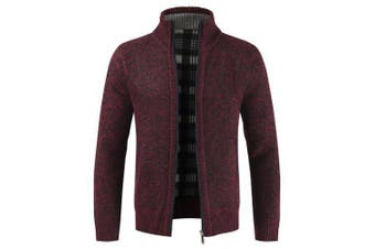 Stylish Stand Collar Sweater with Zipper for Men- Firebrick 3XL