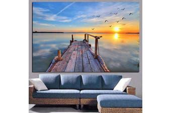 Beautiful Evening Seaside Sunset Pattern Print- Multi 1pc x 12 x 18 inch( No Frame )