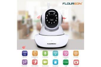 FLOUREON 720P Wifi 1.0 Megapixel Wireless Pan or Tile CCTV Security IP Camera EU- White PAL 1200TVL EU Plug 3.6mm France