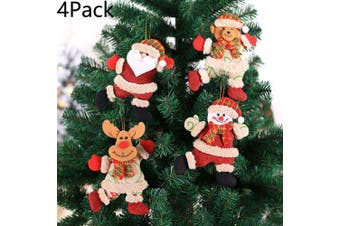 4Pack Christmas Tree Pendant Old Man Snowman Deer Small Pendant Plush Linen Doll Bell Ornament- A style