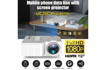 Projector USB Mini Projector Home Media Player Can Be Connected Directly to the Phone Projector- WHITE
