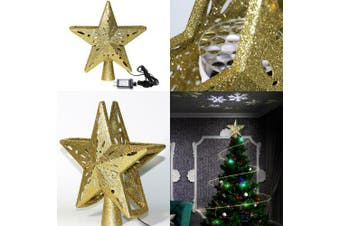 LED Christmas Tree Star Decoration Snowflake Projector Laser Light Christmas Decorations For Home- Gold Star EU Plug China