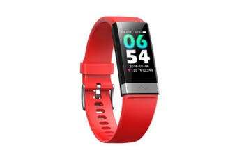 Heart Rate Blood Pressure Oxygen Sleep Monitoring Bluetooth Fitness Large Screen Smart Watch- Red China