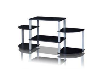 3-Cube Flat Screen TV Stand Storage Shelves Solid MDF and Plastic TubesTV Display Rack HW60171- Black United States