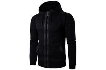 Men Long Sleeve Casual Outdoor Sports Cardigan- Cadetblue XL