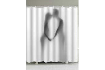Lover Kissing Silhouette Print Shower Curtain- Grey White W71 inch * L79 inch