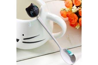 Creative Stainless Steel Cartoon Cat Ceramic Handle Spoon 1pc- Black