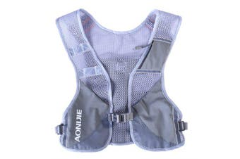 AONIJIE E884 Reflective Hydration Pack Backpack Rucksack Bag Vest Water Bottle Running Marathon- Grey No Bottles China