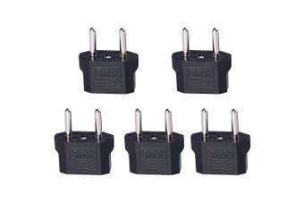 Minismile 5PCS 25V-250V 10A Universal EU / US Socket to EU Plug AC Power Adapter / Charger Kit- Black 5PCS