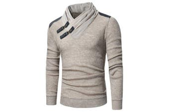 Men's Fashion Solid Color Pile Collar Leather Stitching Long-Sleeved Slim- Light Khaki M