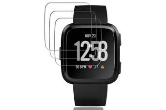 3 PCS 0.26mm Tempered Glass Screen Protector for Fitbit Versa Smart Watch- Transparent