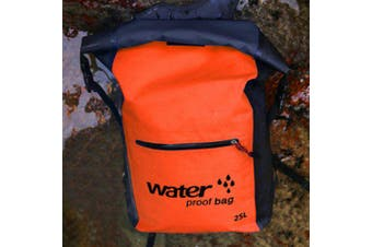 Outdoor Swimming Bags Waterproof Dry Bag Folding Knapsack Double Shoulder Strap Backpack- Orange