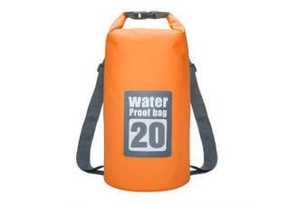 20L Waterproof Dry Bag Sack Storage Pack Pouch Kayaking River Trekking Fishing Double Straps- Orange