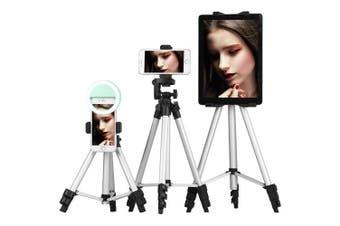 Aluminum Alloy Lightweight Tripod with Smartphone Clip for SLR / DSLR Camera and Phone- Silver