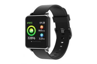 Full Touch Screen Smart Watch IP68 Heart Rate Monitoring Multiple Sports Mode Watches- Black silicone strap China
