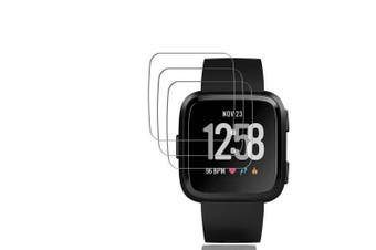 3PCS 0.26mm 9H Tempered Glass Screen Protector for Fitbit Versa Smart Watch- Transparent