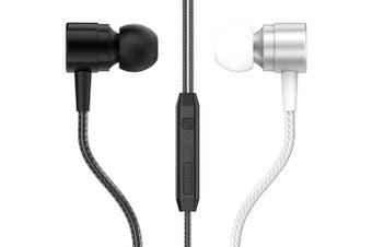 D1 Metal In-ear Headphones Line Control with Wheat Tuning Earphones Universal Mobile Phone Headset Earphones- Black