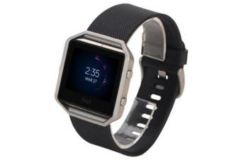 Soft Silicone Adjustable Replacement Sport Band Strap with Quick Release Pins for Fitbit Blaze- Black
