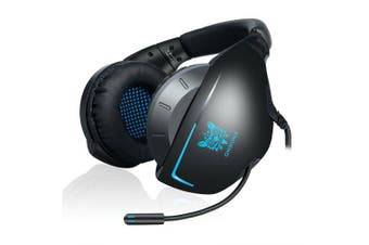 Stereo Bass Surround Gaming Headset for PS4 with Light Headphone PC Mic Gray Computer Gamer Laptop- Blue
