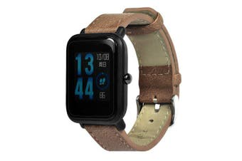 20mm Genuine Leather Watch Band Strap For Xiaomi Huami Amazfit Bip Youth Watch- Brown