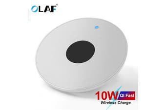 OLAF Wireless Charger for iPhone Xs Max 8 Plus 10W Fast Charging for Xiaomi Samsung Note 9 Note 8- White Universal
