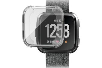 Case Cover for Fitbit Versa Smart Watch Full Protect Soft TPU Transparent- Transparent