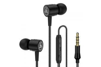 Earphone Noise Isolating Headphone Headset with Microphone- Black