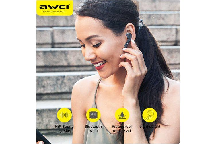 AWEI T10C TWS Bluetooth Headset Intelligent Touch Headset- Black China