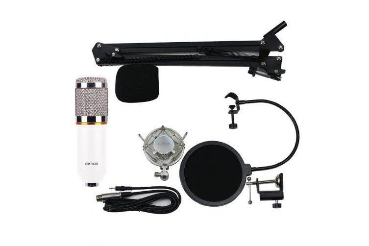 BM800 Gold Ring Version Professional Anchor Karaoke Microphone Bracket Set- Black