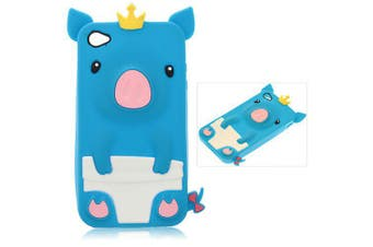Fashion Personalized 3D Cute Pig Pattern Fabulous Case Cover for iPhone 4 / 4S ( Blue )- Blue