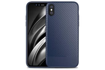 Fiber Grain TPU + PC Phone Case Cover for iPhone XS MAX- Cadetblue