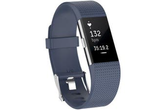 Rubber Strap Plaid Watch Strap for Fitbi Charge 2- Dark Slate Grey L
