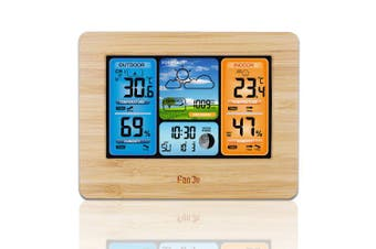 FanJu FJ3373W Wireless Weather Station Color Forecast with Temperature Humidity with Outdoor Sensor- China