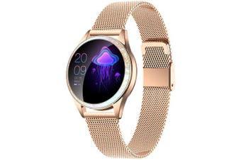 KingWear KW20 Bluetooth Smart Sports Watch IP68 Waterproof Stainless Steel Band Women Health Care Smartwatch- Gold