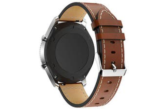 Genuine Leather Watch Bracelet Strap Band for Samsung Gear S3 Frontier- Brown