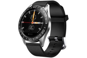 GT105 1.22 inch Fashion UI Heart Rate Blood Pressure Monitor Weather Forcast Smart Watch- Black