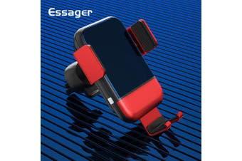Essager Automatic Qi Car Wireless Charger For iPhone Samsung Xiaomi Note 10 Car Phone Holder- Red China