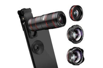 1248 12X 4 in 1 Mobile Phone Telephoto Lens- Black