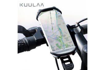 KUULAA Bicycle Phone Holder Universal Mobile Cell Phone Holder Bike Handlebar Clip Stand- Black