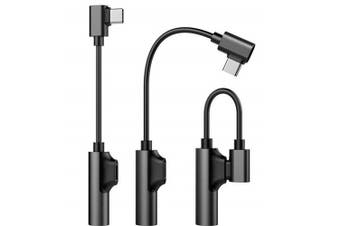 2 in 1 USB Type C to 3.5mm Headphone Cable with Fast Charger Adapter Cable- Black