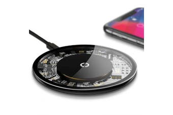 10W Visible Qi Wireless Fast QC3.0 Charger Pad for IPhone X S9 S8 Note 8 Plus- Transparent