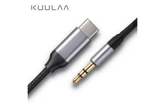 KUULAA USB C to 3.5mm AUX Headphones Type C 3.5 Jack Adapter For Huawei Xiaomi Audio Cable- Dark Gray 1m