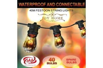40m Festoon String Lights Light Wedding Party Christmas Waterproof Outdoor